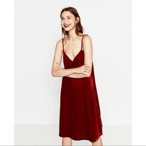 Zara Red Velvet Cocktail Midi Strap Dress